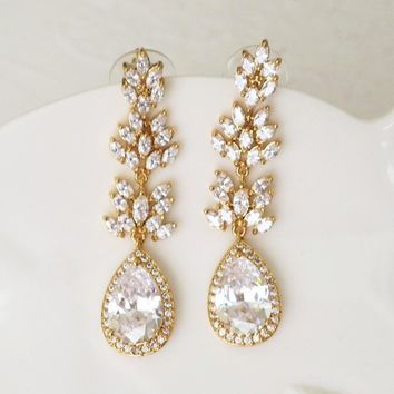Marquise Gold Crystal Bridal Dangle Earrings