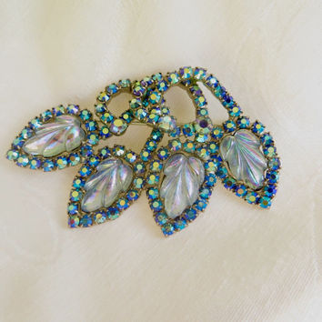 Hobe Aurora Borealis Brooch, Molded Glass Pin, Hobe Jewelry, Designer Signed Brooch