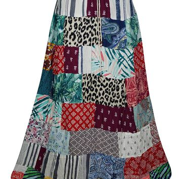 Mogul Interior Womens Patchwork Skirt Vintage Patches Ethnic Peasant Long Skirts S/M (Red,Green)