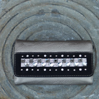 Fashion Wallet by Texas Leather {Pewter/Black}
