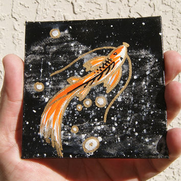 koi fish painting, cosmic koi mini art, with free easel, Kiwa