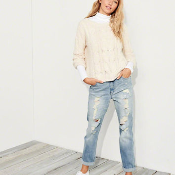 Girls Stretch High-Rise Crop Slim Boyfriend Jeans | Girls Bottoms | HollisterCo.com