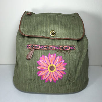 Dakine Sophia Backpack in Olive with Hand Painted Pink Daisy