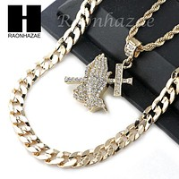 """MENS ICED OUT PRAYING HANDS PENDANT DIAMOND CUT 30"""" CUBAN CHAIN NECKLACE SET G29"""