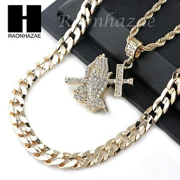 "MENS ICED OUT PRAYING HANDS PENDANT DIAMOND CUT 30"" CUBAN CHAIN NECKLACE SET G29"