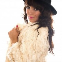 Cream Faux Fur Coat with Hook Fastening