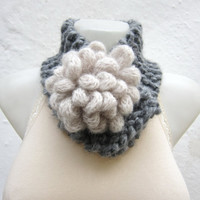 Removeable Brooch Pin -Cowl- Hand Knitted Neck Warmer  - Women  Winter  Accessories  Grey cream