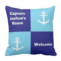 Custom Nautical Kid's Room Anchor Throw Pillow