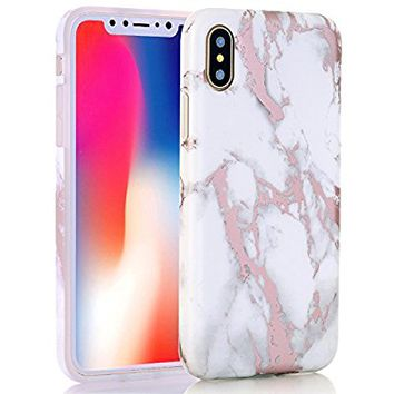 iPhone X Case, Shiny Rose Gold Metallic White Marble Design, BAISRKE Clear Bumper Matte TPU Soft Rubber Silicone Cover Phone Case for Apple iPhone X (2017) 5.8 inch