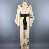 Vintage 1940s Silk Kimono Robe / Ivory & Brown Leaves