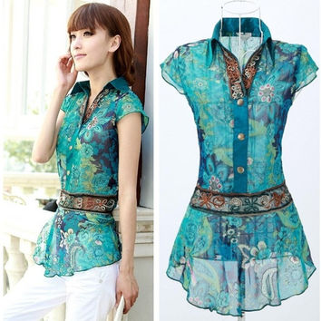 Summer vintage fashion Women's chiffon shirt national trend shirt top clothes