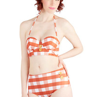 ModCloth Rockabilly Halter High Waist Pool Party Picnic Swimsuit Top in Orange Gingham
