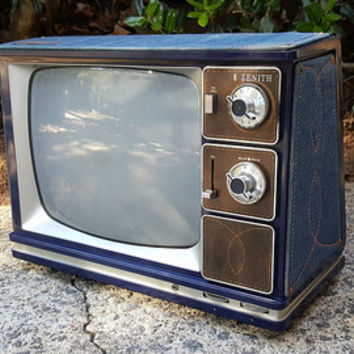 Vintage Portable TV, Zenith Sidekick II with Denim Sides