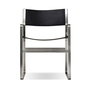 Hans Wegner Stainless Steel Cubist Arm Chair CH113