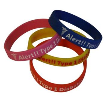 Type 1 Diabetes Insulin Dependent Medical Alert Bracelets(Pack of 4)