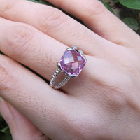 Sale Pink Topaz Ring- Pink Quartz Ring- Silver Ring- Pink Stone Ring- Stone Ring- Gemstone Ring- Pink Ring- Silver Quartz Ring- Rose Gold Ri