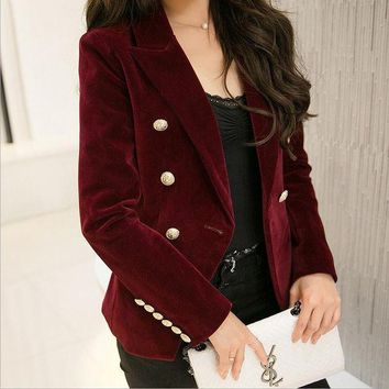 CREYHY3 M-2XL plus size 2016 autumn female Korean Slim was thin velvet leisure suit solid color double-breasted jacket w1085