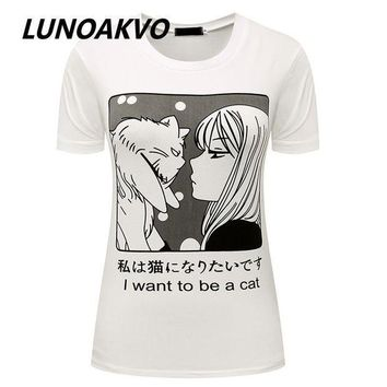 PEAPGC3 I Want To Be A Cat Manga T-Shirt Pastel Goth Anime Grunge Goth Tumblr Clothing Kawaii Hipster Punk Indie Homies Cute