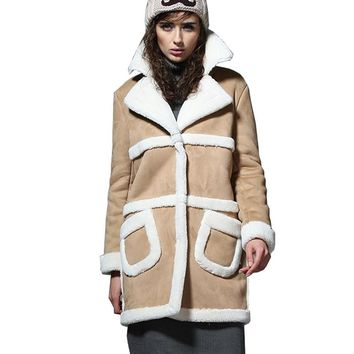 UUV Long Sheepskin Suede Cloak Winter Jacket Women Lapel Thick Warm Women's Coats Overcoat Jaqueta  Shearling Coats JS1303012