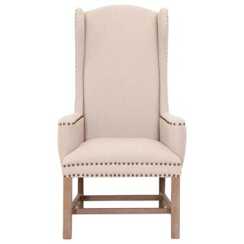 Bennett Arm Chair Oatmeal Linen, Stone Wash | Small Gold Nails