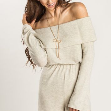 Cheyenne Beige Off the Shoulder Knit Romper
