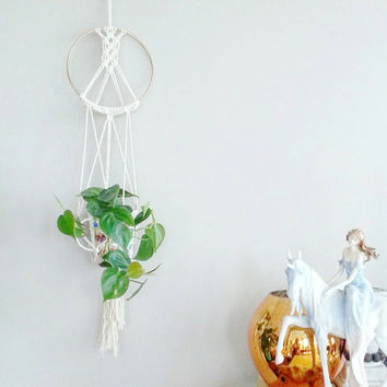 Boho Decor~ White Macrame Plant Hanger~ Hanging Planter~ Home Decor~ Nursery Decor~ Kitchen Decor~ Rustic Decor~ Bedroom Decor~ Gift for Her