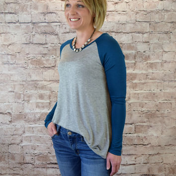 Jersey Raglan Sleeve Top - Ocean Blue/Heather Gray