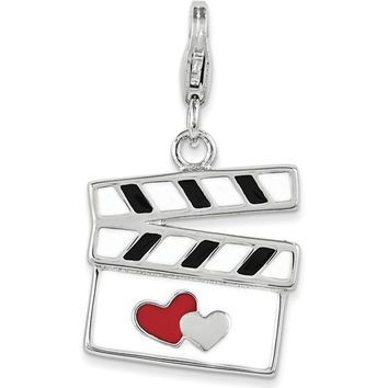 925 Sterling Silver Enameled Fall In Love Movie Set Clapper Charm