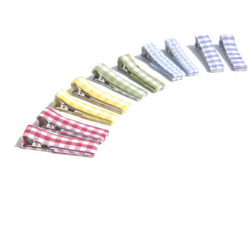 Girls Hair Clips Rainbow Gingham Fabric by SmiLeaGainCreations