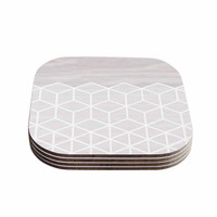 "Draper ""Geo White Woodgrain "" Gray White Coasters (Set of 4)"