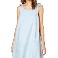Bow-tie Shoulder Knotted Sleeveless A-Line Pleated Mini Dress