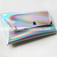 Modern Holographic Rivet wallet / iphone wallet / iphone bag / Leather wallet / Holographic clutch / Purse Messenger Bag Women Girls lady