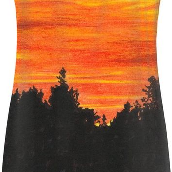 Sunset with bird Simple Dress