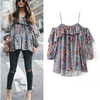 2017 Fashion Women Tops Sexy Off Shoulder Floral Blouses Cropped Top Flare Sleeve Summer Ladies Tops