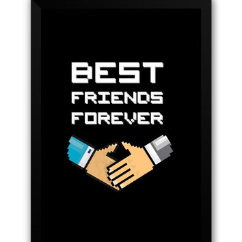 Best Friends Forever Pixel Art Laminated Framed Poster