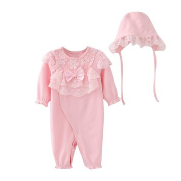 Baby Girls Romper Newborn Infant Baby Kids Girls Cap Hat+Lace Romper Jumpsuit Clothing Set Baby clothes Outfit drop ship