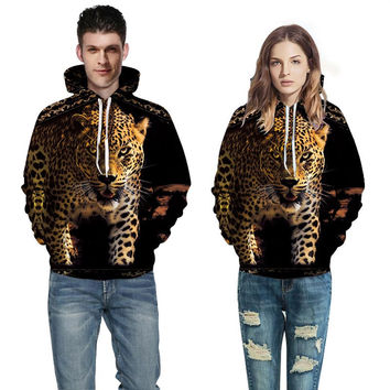 Animals Print Sweatshirts Men Women Spring Winter Fashion Leopards Hoodies Unisex Hooded Pullovers H