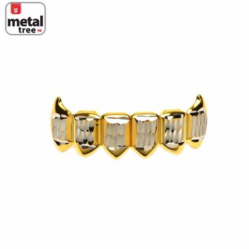 Jewelry Kay style Men's Vampire Fangs Gold Toned Bottom 2 Tone Mouth Caps Teeth Grillz S020-C1-G