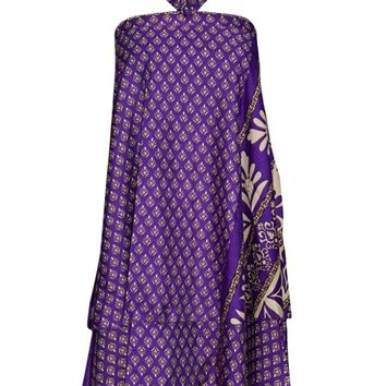 PREMIUM Sari Wrap Skirts Reversible Purple Wrap-Around Skirts Sarong Dress