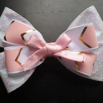 Pink and gold bow
