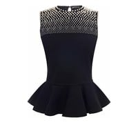 Degrade Pearl Embroidered Peplum Top Alexander McQueen | Knitwear | Tops Knitwear |
