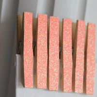 Sparkle Coral Clothes Pins, Banner Clothes Pins, Clothes Pin Magnets, Birthday Party decor, Locker magnets, Girl Locker Decor, favors