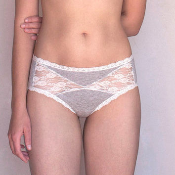 Grey and Ivory Lace Girly Panties. Ivory Lace back. Pretty Lingerie