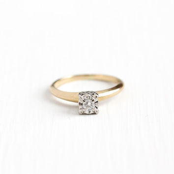 Vintage 14k Yellow & White Gold 1/10 Carat Diamond Solitaire Ring - Size 6 1/2 Mid Century 1950s Fine Illusion Engagement Bridal Jewelry