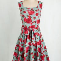 Mid-length Sleeveless Fit & Flare Guest of Honor Dress in Rose Garden