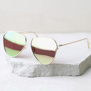 Keep Dancing Rose Gold and Green Mirrored Aviator Sunglasses