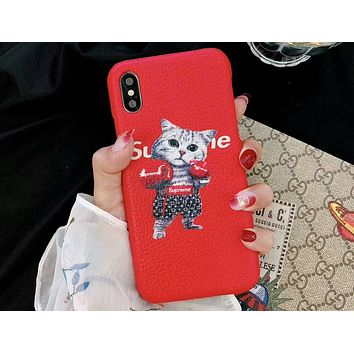 LV Louis Vuitton & Supreme Joint Boxing Cat Print iPhone Universal Phone Case F-OF-SJK red