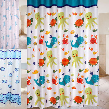 2016 Brand New 180*180cm High Quality Abstract Cartoon Colorful Ocean Lovely Fish Animal Pattern Bathroom Fabric Shower Curtain