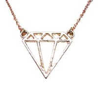 Rose Gold Toned Diamond Outline Pendant Necklace [Jewelry]