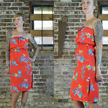 Vintage 70's Summer Picnic Hawaiian Floral Vacation Cotton Beach Dress